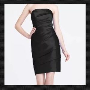 David's Bridal Size 2 Black Short Strapless Dress